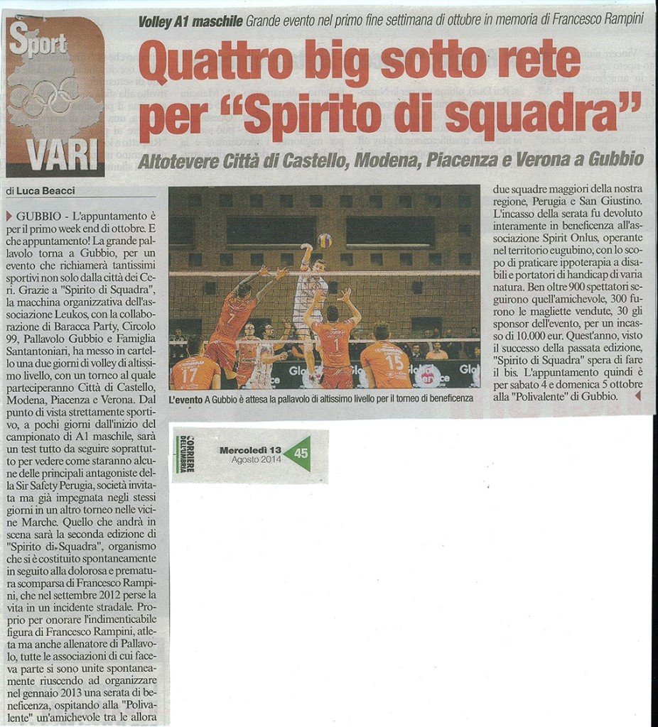 Corriere dell'Umbria - 13.08.14