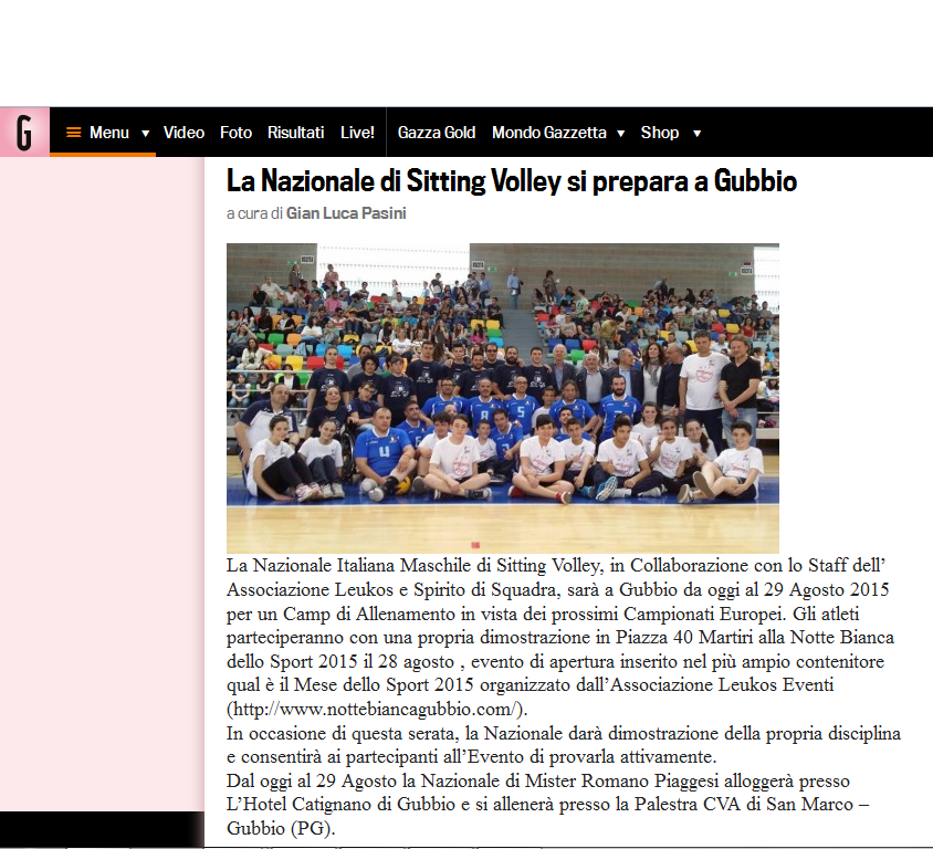 Gazzetta.it - La Nazionale di Sitting Volley si prepara a Gubbio